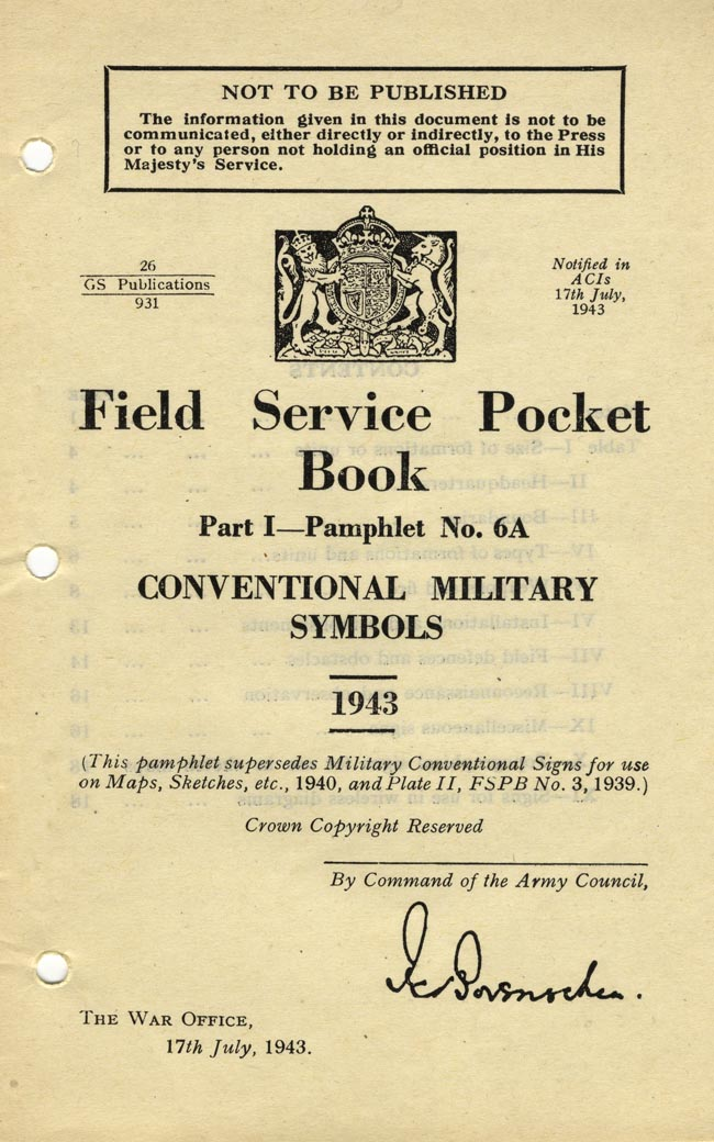Field Service Pocket Book 1 6a Conventional Military Symbols Www